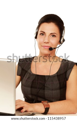 Young customer service operator with laptop isolated - stock photo