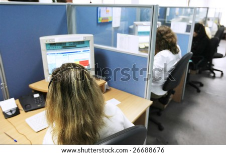 Young customer service representative women sitting in a row
