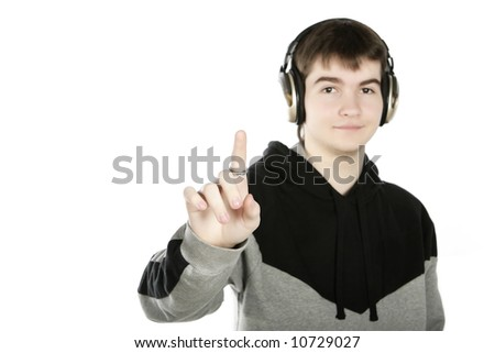 young cute boy listens music