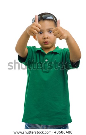 young cute boy showing thumbs up, isolated on white