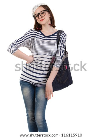 Young cute brunette girl in parisian style. Isolated #116115910
