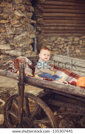 Young cute little boy sitting outdoors in autumn. Pumpkins laying around