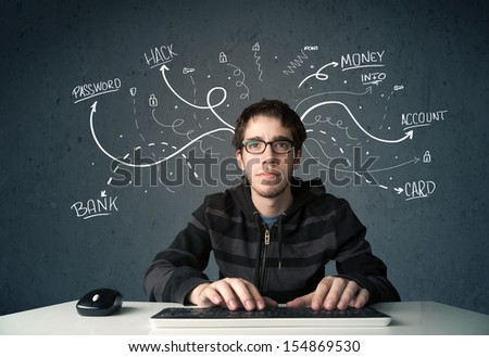 Young dangerous hacker with white drawn line thoughts