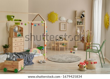 Young decoration room, wooden Montessori and cabinet, carpet table and chair concept. ストックフォト ©