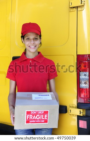 young delivery courier or mailman delivering postal packages