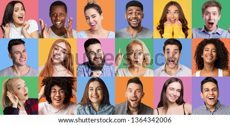 Young diverse people grimacing and gesturing at colorful backgrounds. People's emotionc and gestures concept #1364342006