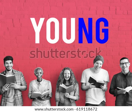 Young Diverse People Reading