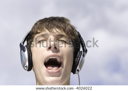 young dj screaming (music concept)