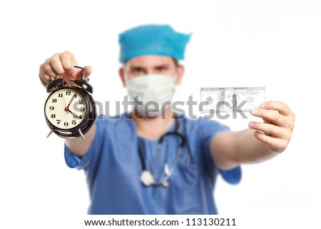Young doctor holding clock and 100 dollar bill on white background