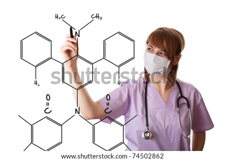 Young doctor is drawing some medical graphics. isolated on white background