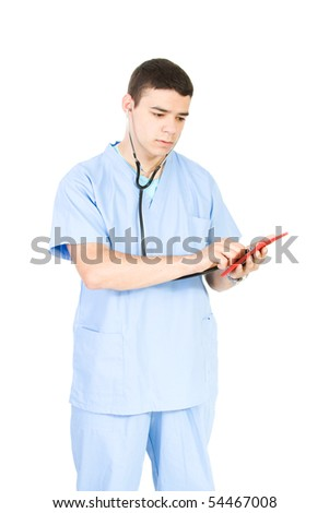 young doctor isolate on white