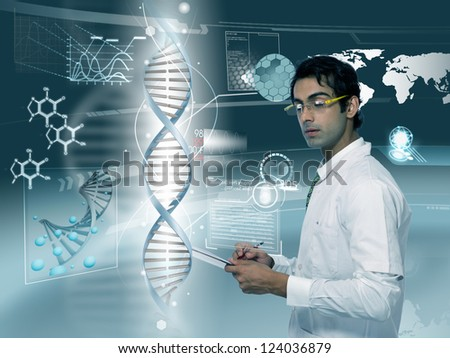 young doctor looking at DNA strand in futuristic background