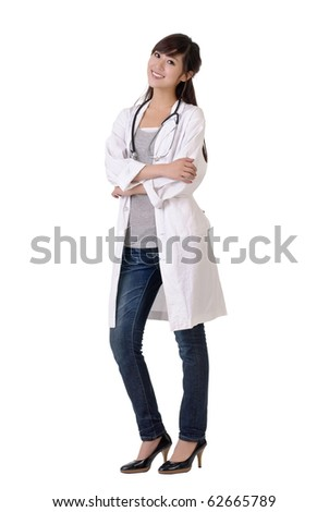 Young doctor of medical smiling, full length portrait of Asian woman isolated on white.