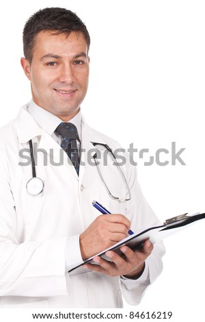 young  doctor smiling, writing notes and prescriptions