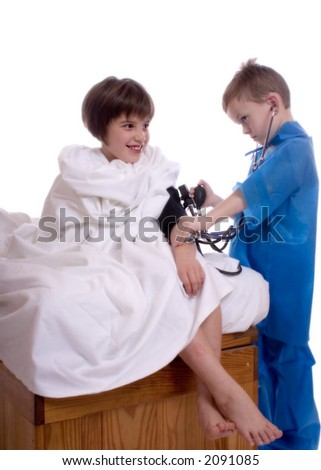 Young doctor taking the blood pressure of a patient.  Isolated against a white backdrop.