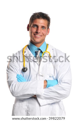 Young doctor with stethoscope and crossed arms smiling