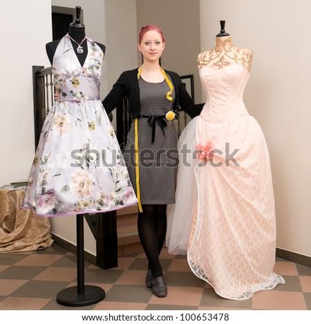 Young dressmaker in her studio
