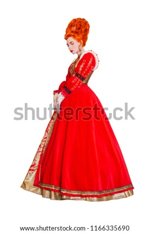 Young edwardian redhead queen from era romanticism with hairstyle isolated on white background. Edwardian princess with red hair isolated. Fairytale queen in red dress. Romanticism era in art