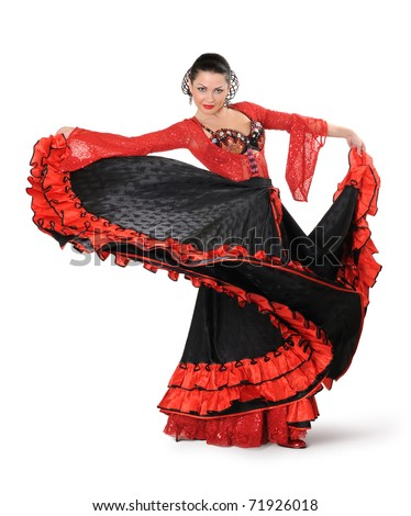 Young elegance flamenco dancer in action on white background