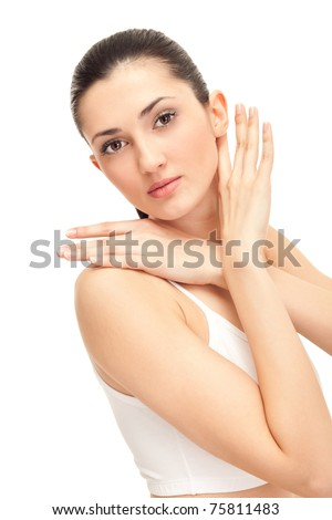 young elegance woman stroking her beautiful face, isolated on white