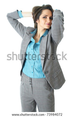 young elegant and attractive businesswoman stretch her hands over her head, relaxed pose, isolated on white background