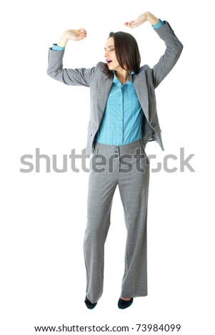 young elegant and attractive businesswoman stretch her hands, relaxed pose, isolated on white background