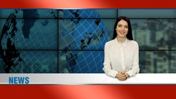 Young elegant brunette anchor woman in white blouse telling the news in tv studio