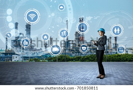 young engineer and smart factory concept. Internet of Things. Sensor Network. #701850811