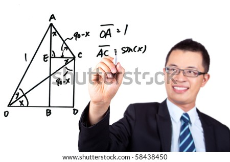 young engineer drawing a Trigonometric functions and Mathematics graph