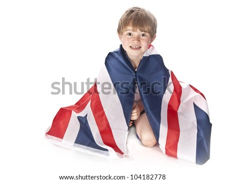 Young England football fan with Union Jack flag Isolated on white background