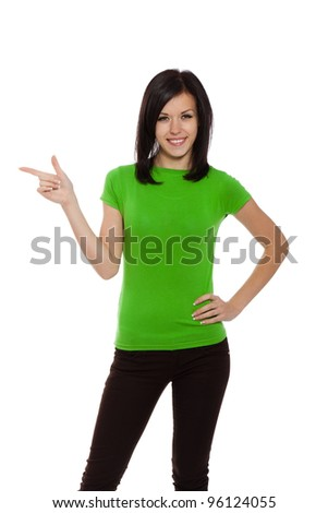 young excited woman point finger showing something to side empty copy space, standing happy smiling holding her hand, concept girl advertisement product, isolated over white background