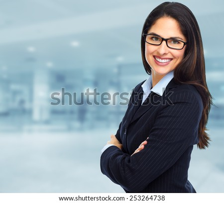 Young executive Business woman. Success and education background.