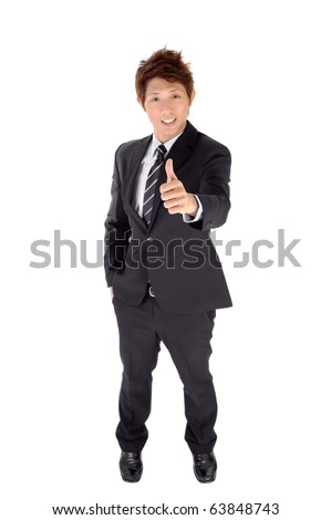 Young executive give you excellent gesture, full length portrait isolated on white.