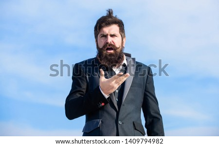 Young expertise. Future success. disturbance hipster. Charismatic male. Male formal fashion. brutal hipster with moustache. Mature hipster with beard. Businessman against the sky. Bearded man. #1409794982