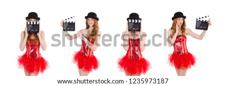 Young fairy with clapperboard isolated on white #1235973187