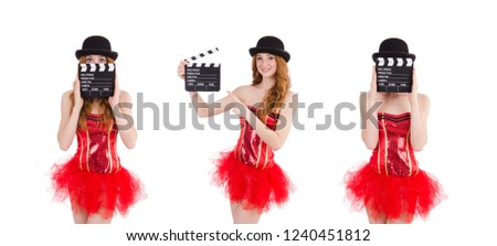 Young fairy with clapperboard isolated on white #1240451812