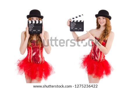 Young fairy with clapperboard isolated on white #1275236422