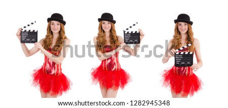 Young fairy with clapperboard isolated on white #1282945348