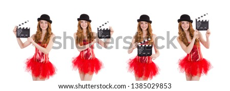 Young fairy with clapperboard isolated on white #1385029853