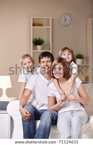 Young families with children at home in the evening