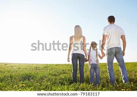 Young family in a field