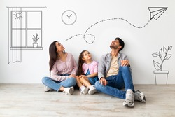 Young family of three imagining interior of their new flat, sitting on floor near white wall with doodle drawings, planning relocation. Creative collage with illustrations on background