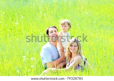 young family on the field