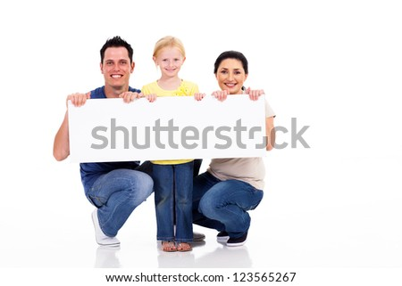 young family with white banner isolated on white