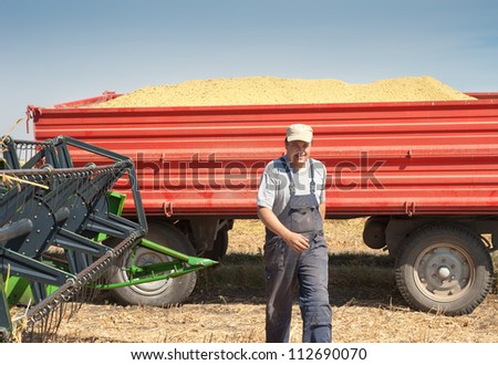 young farmer after harvest soy