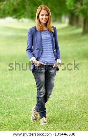 Young fashion girl at spring outdoor. - stock photo