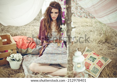 Young fashionable hippie girl outdoor