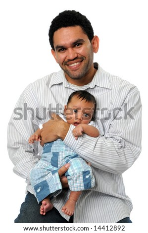 Young father holding son isolated over a white background