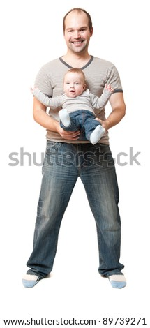 young father with cute baby boy sitting in his arms, isolated on white background
