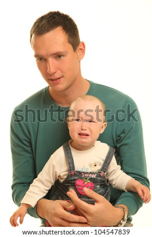 young father with little baby